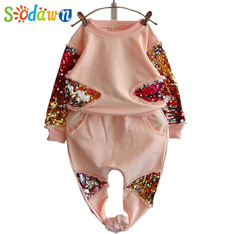 Sodawn Baby Girls Clothes  Autumn And Spring Baby Girl Shining Clothing Set Long Sleeve Sweatshirts Top+Pant Suit 2 Pcs Set  europe hot sale baby girls long sleeve velvet plaid top pant suit fashion childrens casual clothes princess clothing 16d1224