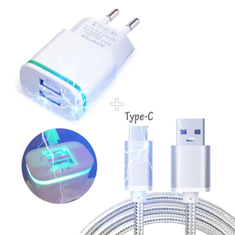 Двойной USB ЕС Plug AC Главная Путешествия Зарядное устройство + 3f Тип c USB кабель для UMI плюс, супер 4 г LTE, UMI max 4 г LTE, гладить pro, Молотки s