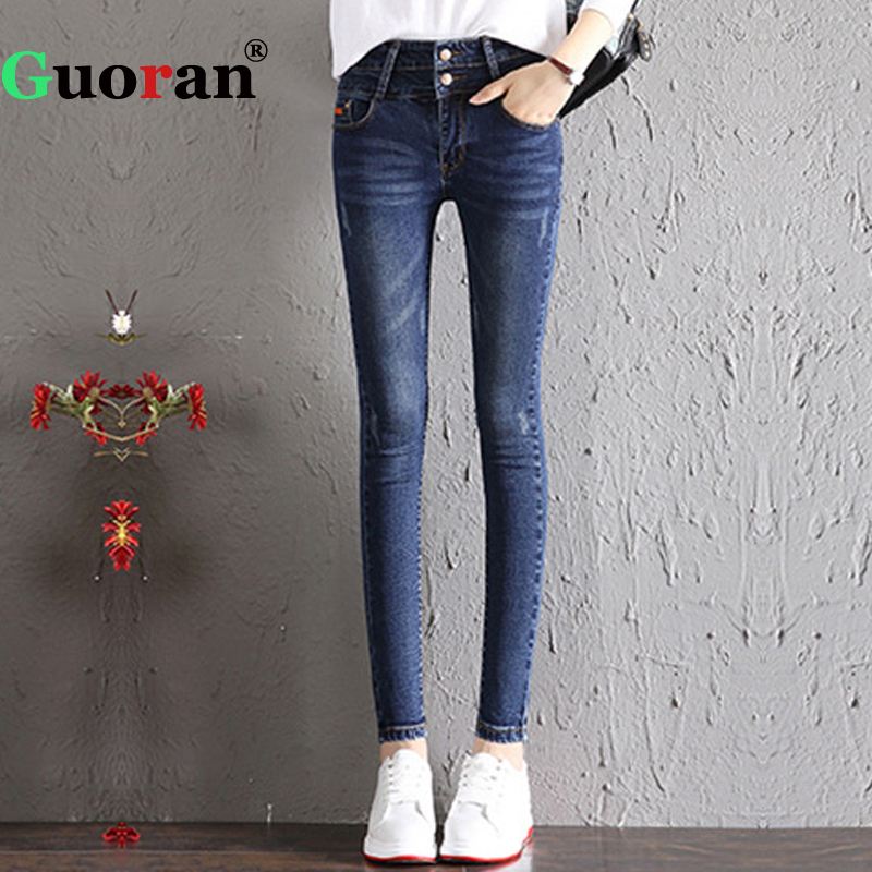 {Guoran} Stretch Femme Jeans Trousers Plus Size 32 Women Denim Blue Jeans Leggings Slim Pencil Pants Street Wear Ripped Jeans rosicil new women jeans low waist stretch ankle length slim pencil pants fashion female jeans plus size jeans femme 2017 tsl049