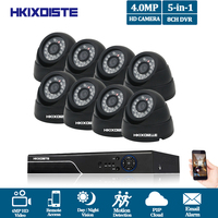 Home 8CH CCTV System 4MP DVR 8PCS 4.0MP IR Black Dome indoor Video Surveillance Home Security Camera System 8CH DVR Kit