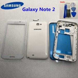 Image 2 - Dành cho Samsung Galaxy Note 2 II N7100 N7105 Full Nhà Ở Lưng Thay Thế Giữa Khung Viền Lưng note2 Mặt Trước Sau + dụng cụ