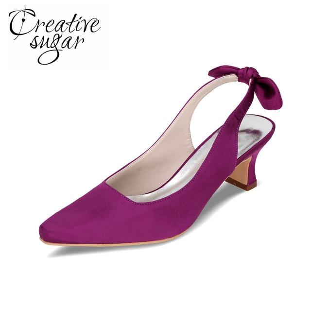 Creativesugar Comfortable low heel satin evening dress shoes ...