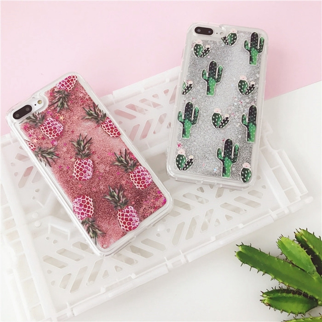 promo code 8d694 4074a US $4.36 |For iPhone 8 7 Plus Quicksand Case Fashion Pineapple Cactus  Pattern Glitter Sands Soft Back Cover For iPhone 6 6S Plus 7 8 Plus-in  Fitted ...