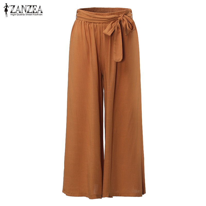 2019 Women Casual Loose   Wide     Leg     Pants   Vintage Elastic Waist Trousers Casual Cotton Oversized Solid Long   Pants   Plus Size L-5XL