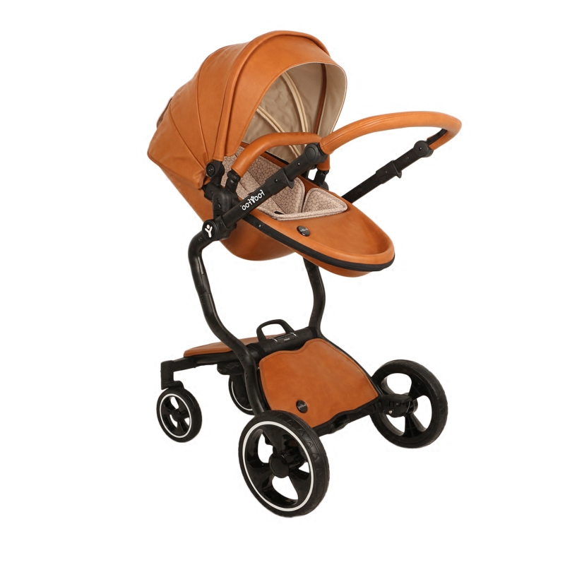 2 In 1 Luxury Shock Baby Strollers Double Four Wheeled High Landscape Can Be Lying Sleeping Basket Leather Pram Wheels Stroller From Mother