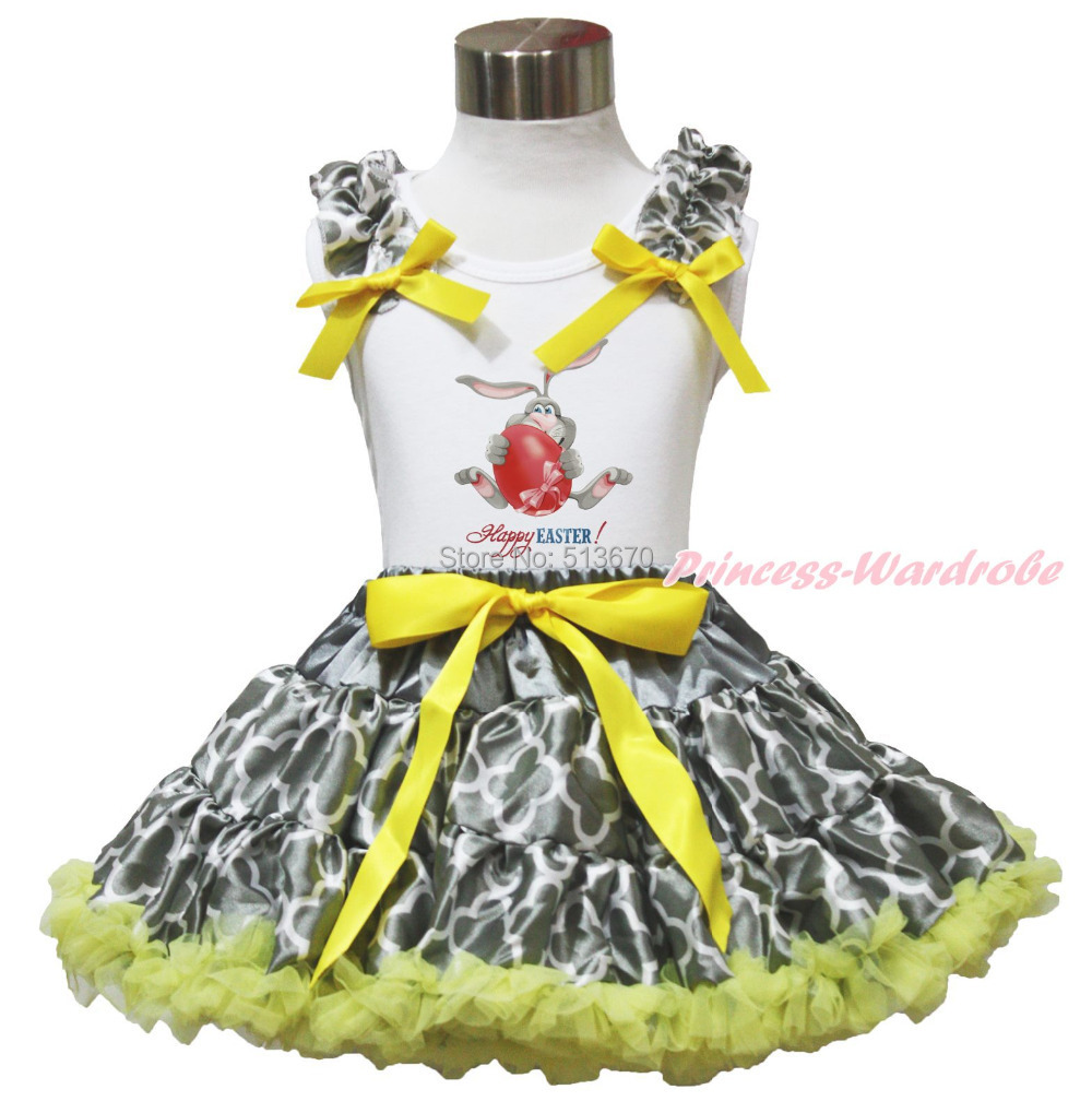 Happy Easter Egg Bunny Rabbit Painting White Top shirt Yellow Grey Quatrefoil Clover Girl Pettiskirt Outfit Set 1-8Y MAPSA0518 цена и фото