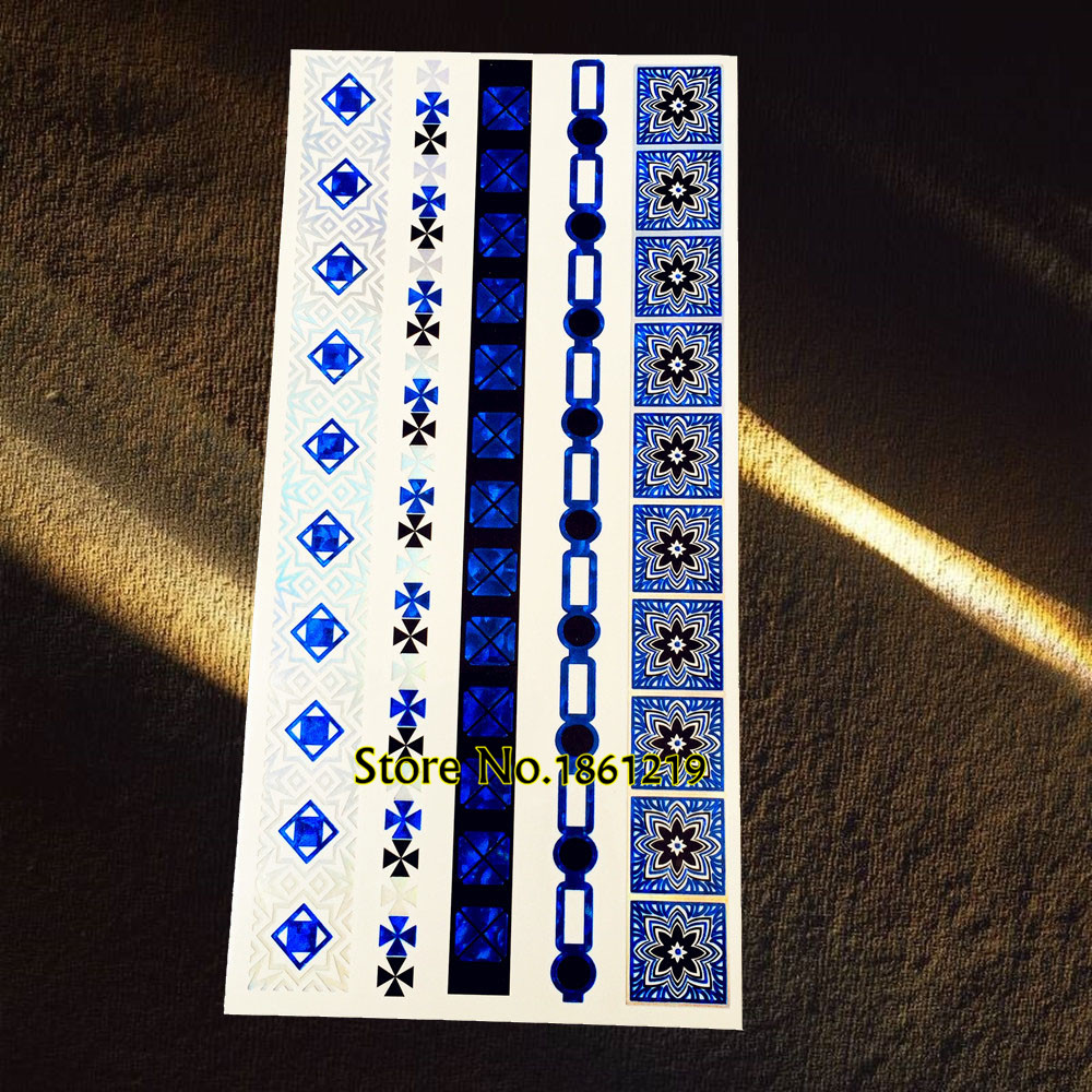 1PC Dazzling Bracelet Design Blue Metallic Tattoo Arm Leg Jewelry Temporary Tattoo Sticker Waterproof Tatoo Henna Chains Choker