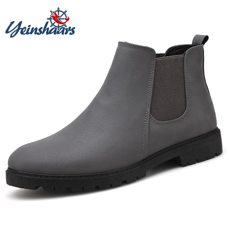 YEINSHAARS Black Gray Red Fashion Casual For Men Ankle Chelsea Boots Genuine Leather Quality Slip Ons Motorcycle Men BootYEINSHAARS Black Gray Red Fashion Casual For Men Ankle Chelsea Boots Genuine Leather Quality Slip Ons Motorcycle Men Boot