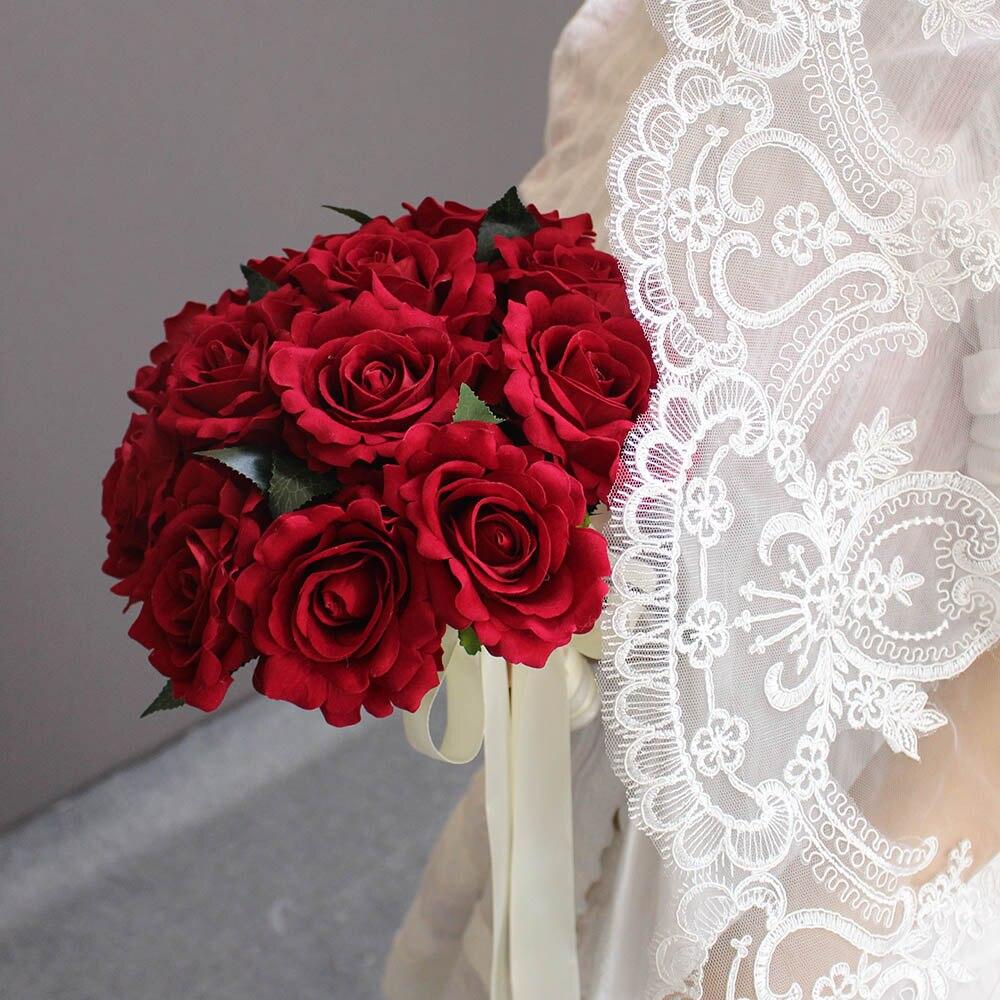 2019 Verkliga bilder Konstgjorda Röda Rose Bröllopbuketter Vackra - Bröllopstillbehör - Foto 4