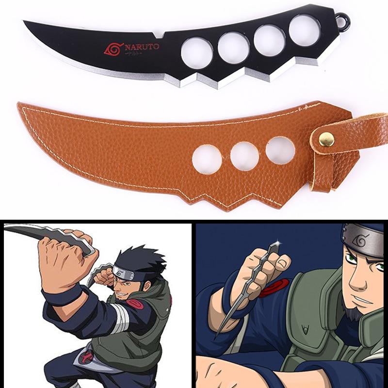 1pc 22cm Naruto Sarutobi Asuma Kunai Knife Weapons With Leather Case Cosplay Classic Toys For Kids Adults #E 7 pcs naruto mini metal weapons model hatake kakashi deidara kunai shuriken sword kunai knife set cosplay toys collections gift