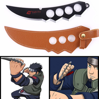 1pc 22cm Naruto Sarutobi Asuma Kunai Knife Weapons With Leather Case Cosplay Classic Toys For Kids Adults #E