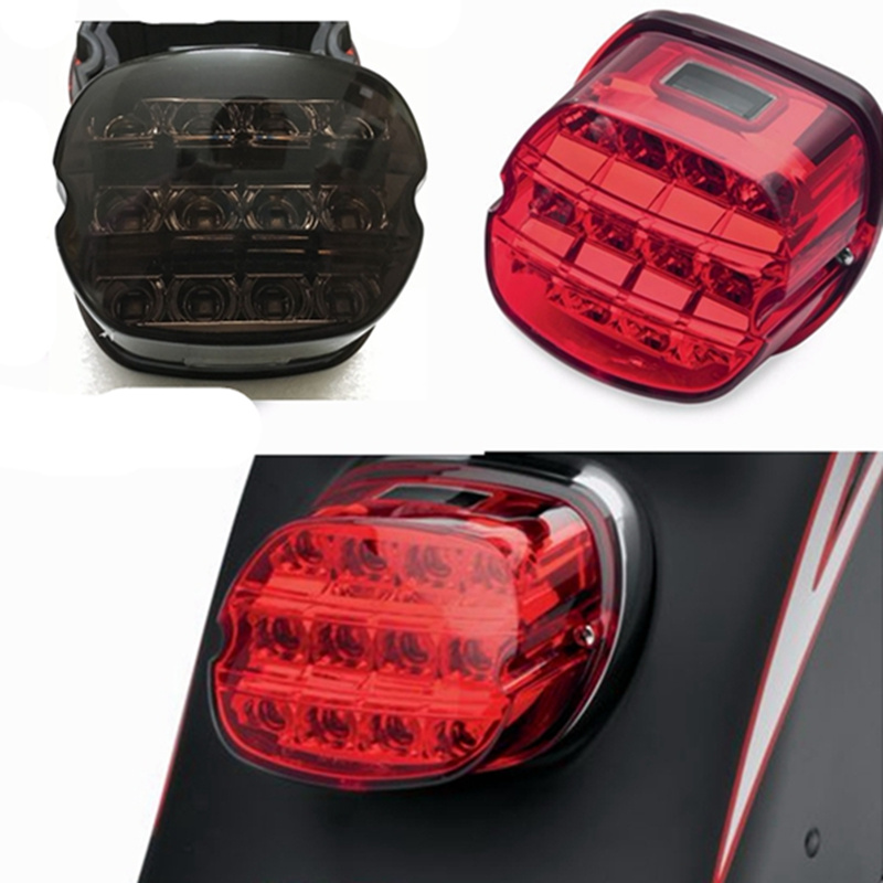 For Harley Dyna Super Wide Glide Low Rider Fat Bob Motorcycle Led Light Smoke Tail Brake Light 12v License Plate Rear Lamp Home