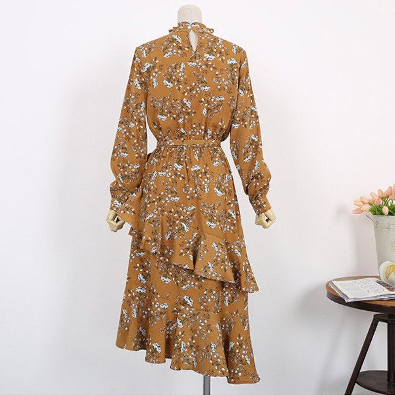 LANMREM 2019 летняя новая модная одежда винтажные женские повседневные платья с длинным рукавом и круглым вырезом QH91