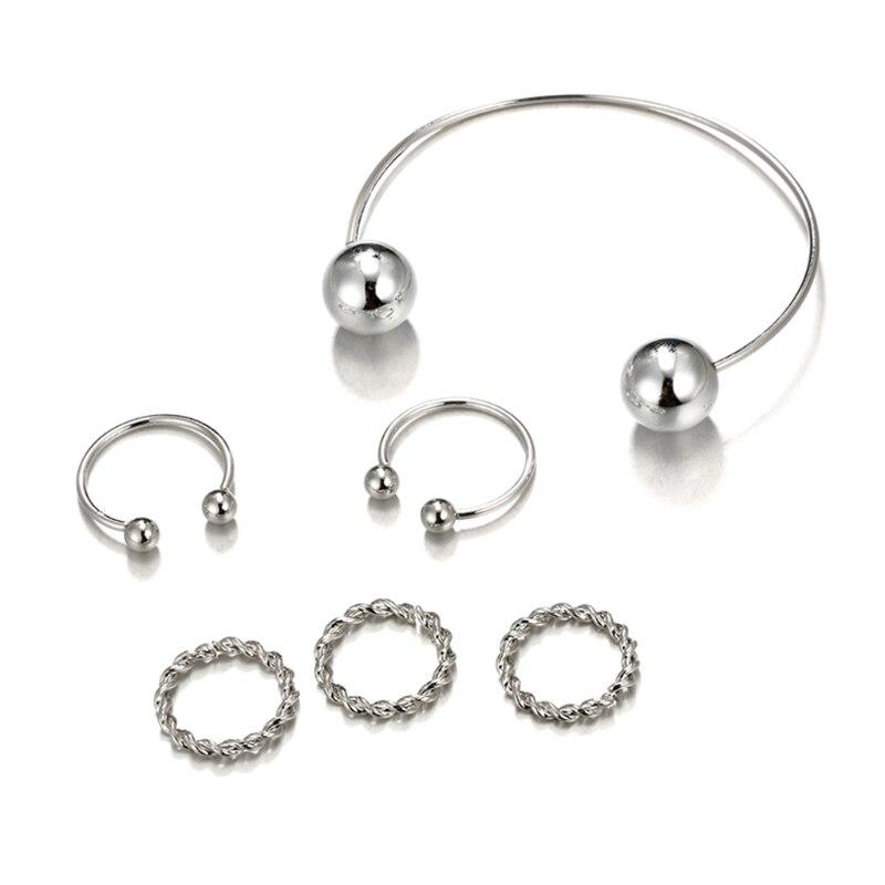 1 Set Hot Sale Bangle Ring Bracelet Women Jewelry Simple Fashion Knuckle Finger Jewelry Set Chrismas Gifts W77