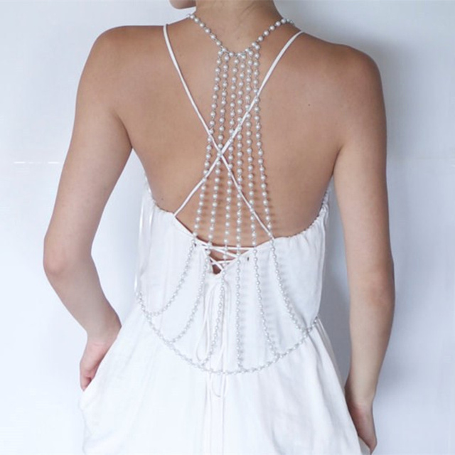 Female Pearl Necklace for Back