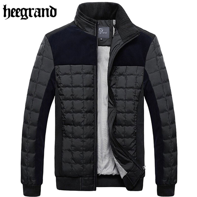 HEE GRAND 2017 New Men Fashion Patchwork Warm Autumn Coats Plaid Brief Leisure Office Men Jackets MWM699