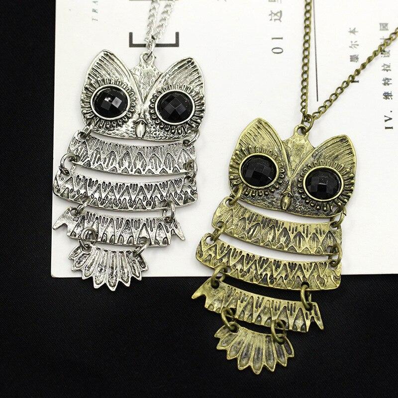 Vintage Owl Design Rhinestones Crystal Pendant Necklaces 2
