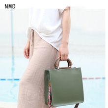 NMD  2019 new fashion real genuine leather large square bag half moon metal with brand luxury handbag for woman