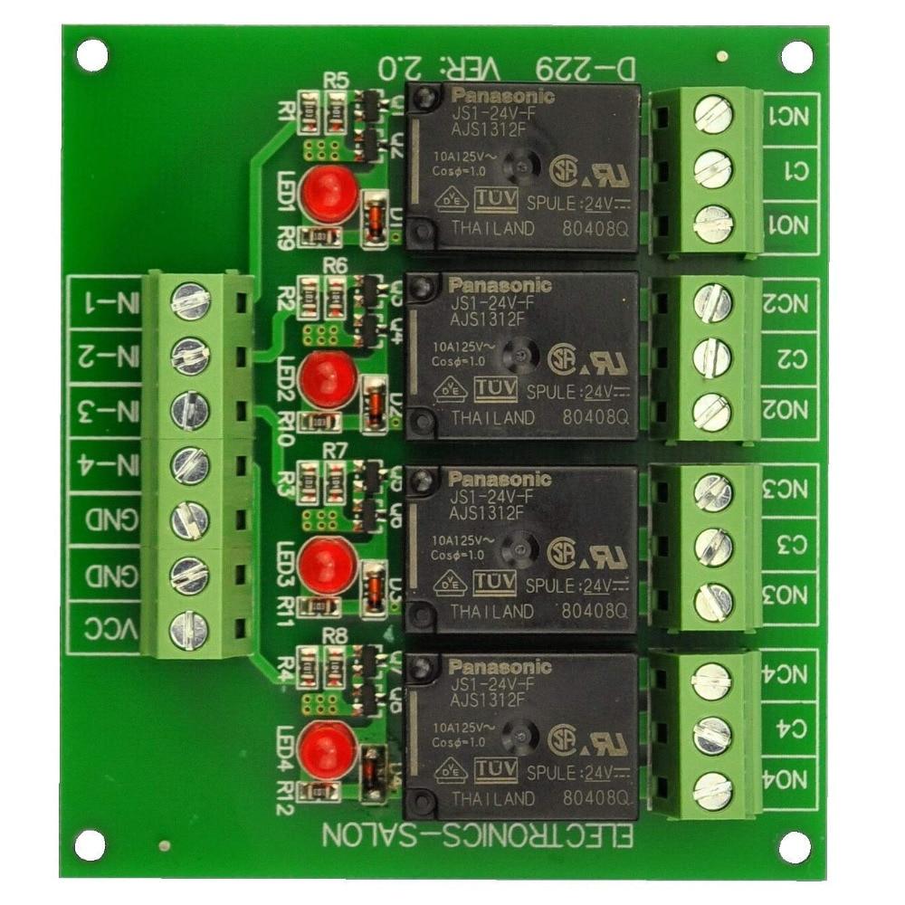 Electronics-Salon 4 SPDT 10Amp Power Relay Module, DC 24V Version. Electronics-Salon 4 SPDT 10Amp Power Relay Module, DC 24V Version.