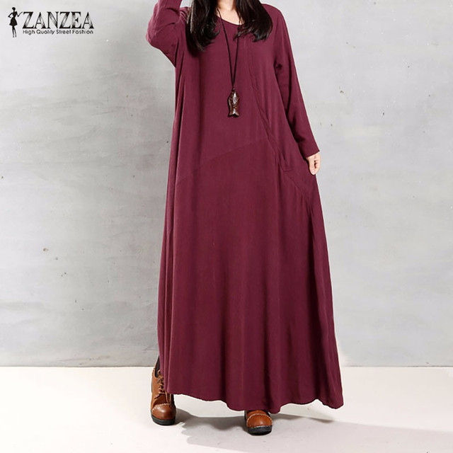 ZANZEA Women 2016 Autumn Retro Maxi Long Dress O Neck Long Sleeve Pockets Buttons Casual Loose Solid Cotton Dresses Vestidos