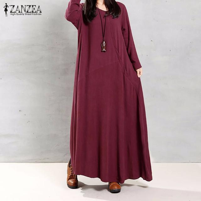 Zanzea mulheres 2017 outono retro longo maxi dress o pescoço de manga longa bolsos botões casual soltas sólidos vestidos de algodão vestidos