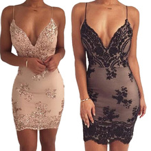 European and American Sequins Deep V-neck Sling Sexy Backless Dress New Summer Self-cultivation High Waist Dress Free Delivery