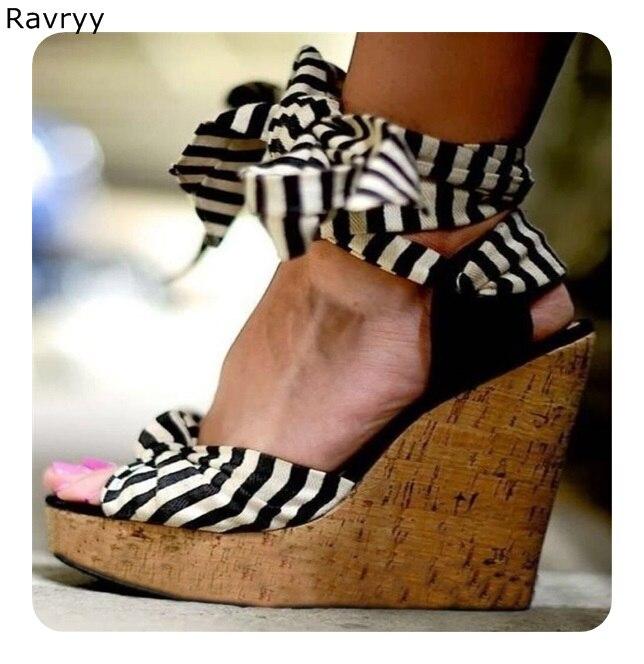 Bride cheville femme sandale noir et blanc rayure talons hauts peep toe plate-forme talon compensées sexy pompes femme fête robe chaussures