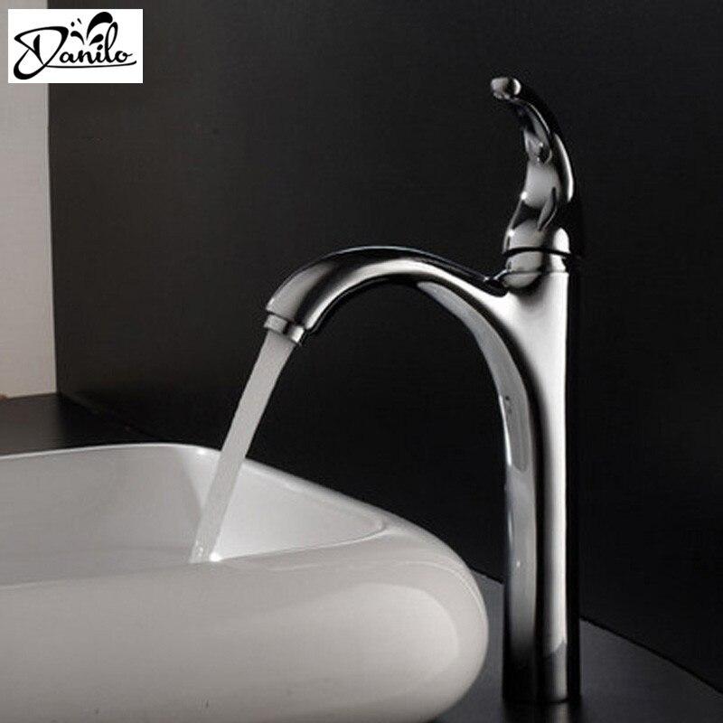 Contemporary Tall brass chrome polish bathroom faucet,deck mounted ...