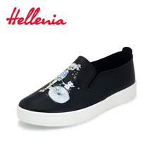 Hellenia 2018 Women Casual Shoes Synthetic Flats Size 36-40 new arrival fashion shoes women sneakers comfortable shoe black