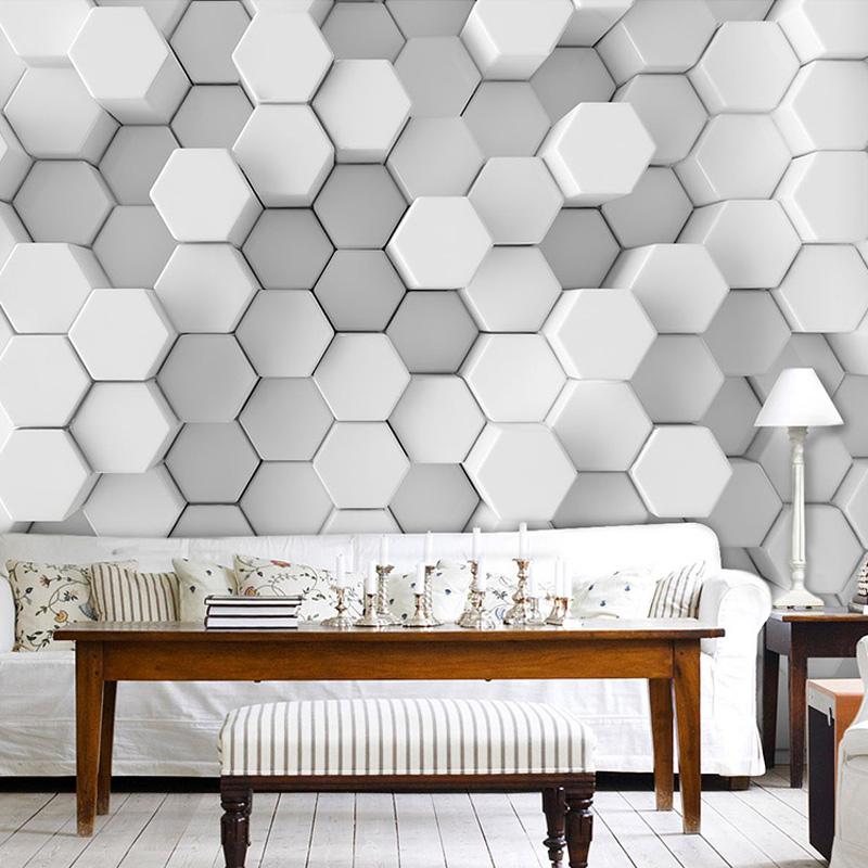 foto de encargo mural wallpaper d estreo blanco geometra simple moderna sala de estar estudio arte