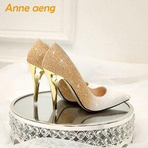 Image 2 - 2019 Yeni Yüksek topuklu ince ayakkabı kadın pompaları bling düğün gelin ayakkabıları klasik 1cm 5.5cm veya 8.5cm sivri ayak akşam parti ayakkabıları