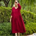 New product launches in the fall of 2016, high quality original design loose big yards of cotton linen women dress