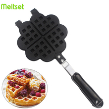Kitchen DIY Waffle Maker Pan Nonstick Heart Shape Omelet Biscuits Walffe Cake Mold Baking Double Side Pan for Gas Cooker