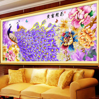 5D Diy Diamond Painting Peacock Peony Cross Stitch Diamond Embroidery Crystal Round Diamond Mosaic Pictures Home