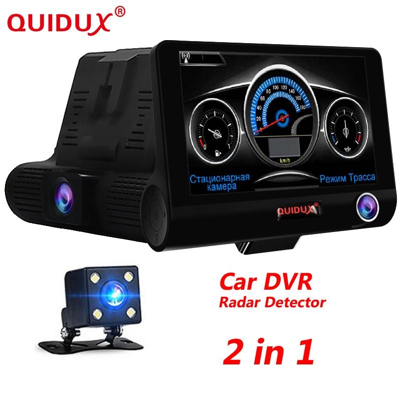 Quidux 4.0 дюймов Видеорегистраторы для автомобилей Антирадары 2 в 1 автомобиль-детектор Камера Full HD 1080 P SpeedCam анти Антирадары тире cam три объектива