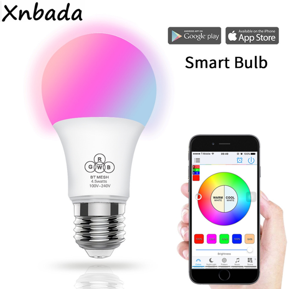 Bluetooth 4.5W RGBW Led Bulb BT Mesh Net Group Smart Led Light Color Change Dimmable By IOS / Android APP AC100-240V стоимость