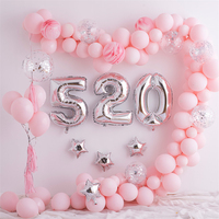 Lincaier Happy Birthday Balloons 520 Foil Number Balloons Banner First Baby Boy Girl Party Decorations Supplies Valentine'S Day