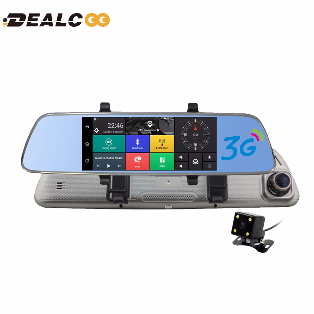 Dealcoo 3G 7 Car Camera DVR Bluetooth Auto GPS Dual Lens Rearview Mirror Video Recorder HD 1080P Automobile DVR Mirror Dash cam wifi dual lens 5 hd 1080p car dvr video recorder g sensor rearview mirror dash camera auto registrar rear view dvrs dash cam