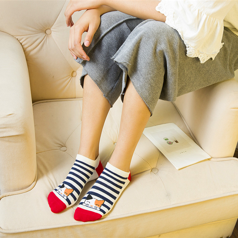 New Arrival 1Pair Cute Animal Cotton   Socks   Female Kawaii Cat Summer Short   Socks   Slippers Women Casual Soft Girl Funny Boat   Socks