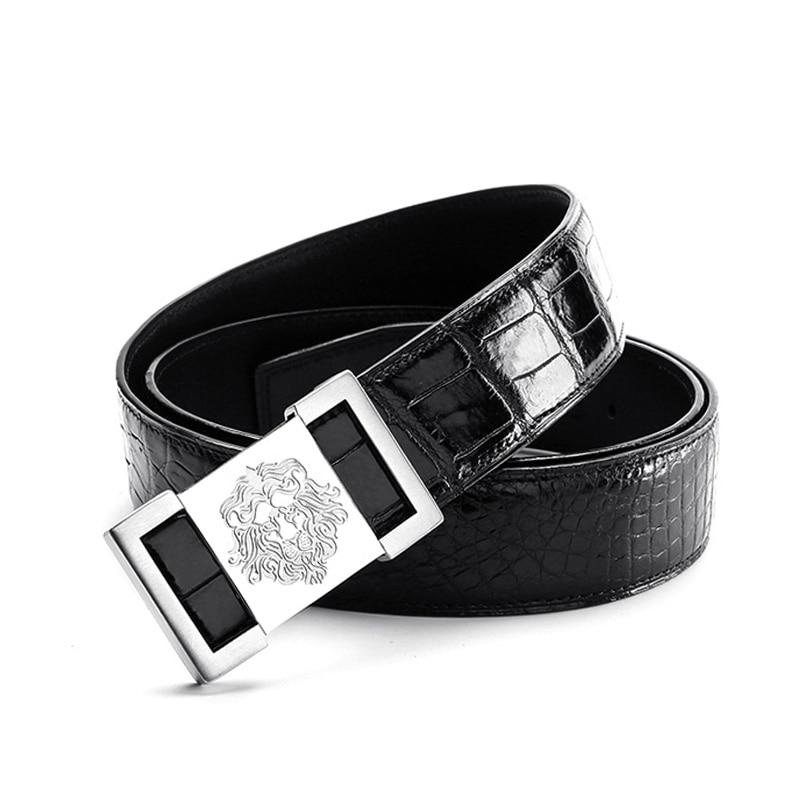 McParko Genuine Leather Belt Male Fashion Lion King Buckle Real Alligator Crocodile Leather Belt High Quality Belt Vintage Brown in Men 39 s Belts from Apparel Accessories
