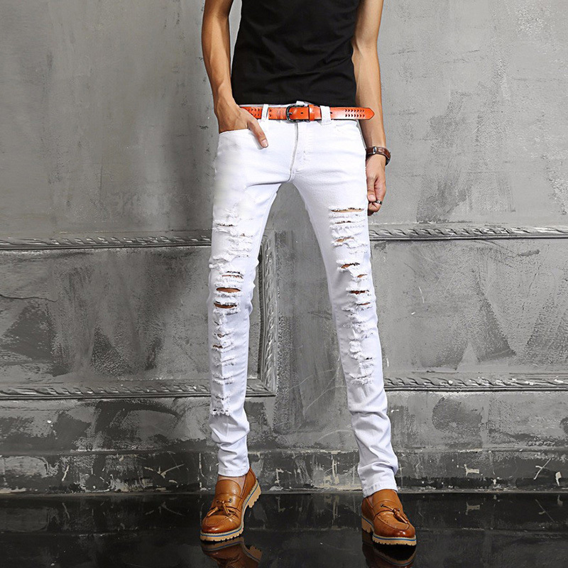 354e581dc Germany Famous Brand Men Runway Shows Scratched Ripped Jeans Skinny Biker  White Jeans For Men High Quality