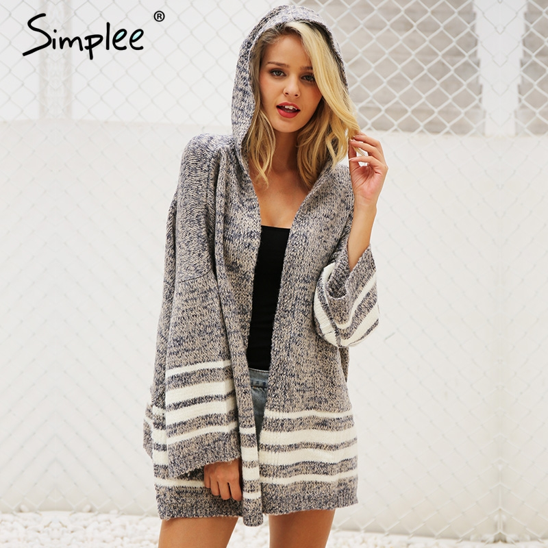 Simplee Hooded Winter Knitted Sweater Cardigan OW494