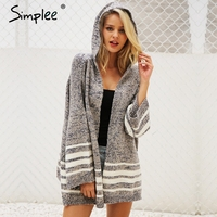 Simplee Hooded Winter Knitted Sweater Cardigan Female Flare Sleeve Loose Striped Jumper 2017 Casual Chic Autumn