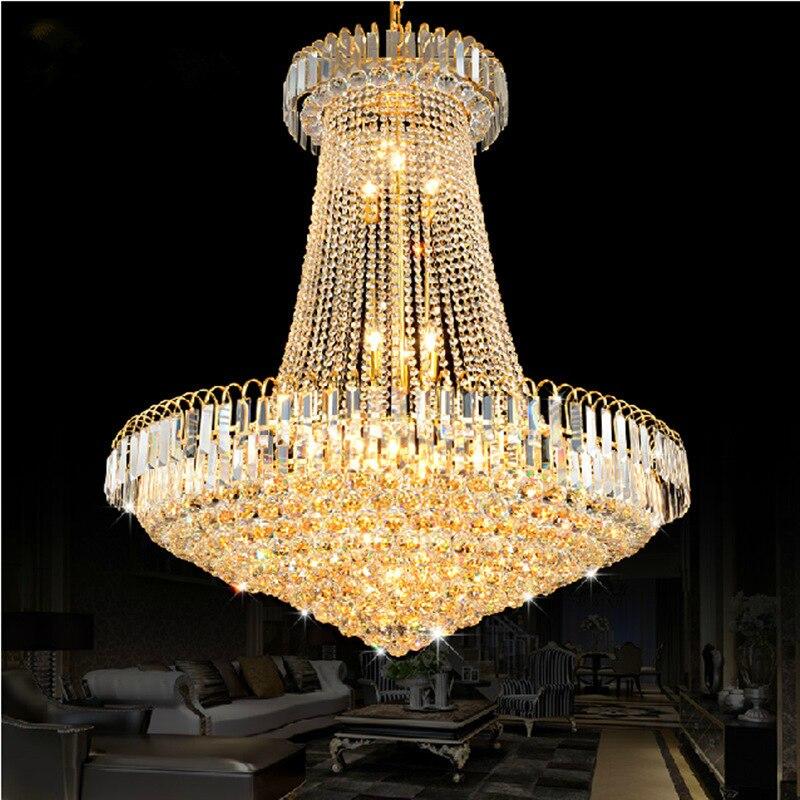 Lustre en cristal doré de luxe, lumière d'escalier, LED, Lustre encastré, Lustres en cristal, diamètre 40 60 80CM
