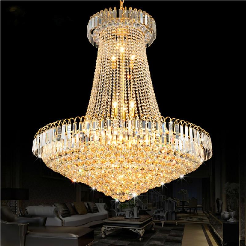 Luxo de Ouro do Candelabro de Cristal de Luz Da Escada Luz LED Embutida Lustre Lustres de Cristais Brilho cristal Diâmetro 40 60 80 cm