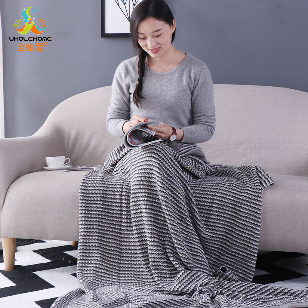 Home Textile Striped Knitted Blanket 100% Cotton Throws Blanket Thread Bedsheet Bedding Warm Soft For Beds Home Decoration classic knitted cotton plaid double plies bedding throws blanket double size wearable for bath bedding