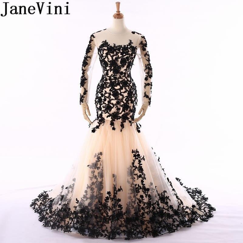 JaneVini nigéria robes de grande taille de soirée noir transparent manches longues sirène robes de soirée arabie saoudite perlée dentelle robes de dîner