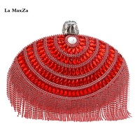 La MaxZa Top Selling Wholesale Evening Clutch Bag Ladies Crystal Pearl Beaded Ball Shaped Box Dinner Purse New Design Womens Bag