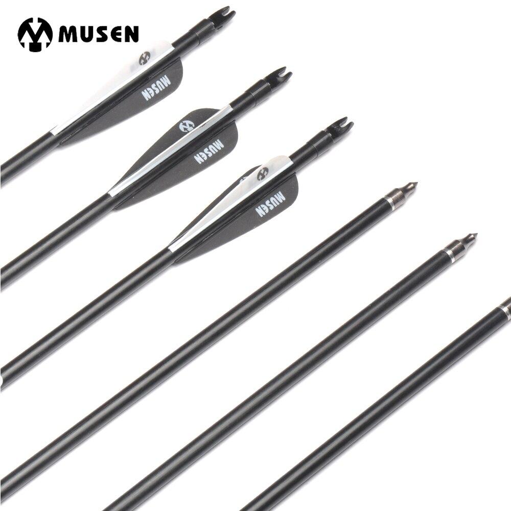 6/12/24 piezas 80 cm Spine 500 flechas de fibra de vidrio con cambiable flecha para arco compuesto objetivo práctica de tiro caza