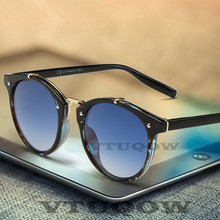 купить Luxury Round Sunglasses Women Men Brand Designer Cat Eye Sun Glasses For Women Male Female Ladies Sunglass Mirror lentes de sol дешево